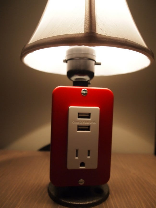 cool lamp with usb and outlet built. Black Bedroom Furniture Sets. Home Design Ideas
