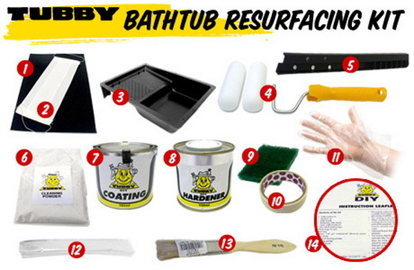 Bathtub Resurfacing Kit's coating material is an advanced two-part epoxy resin and hardener system, which is specially formulated to withstand the harsh conditions of a bathroom environment. The coating material has been developed by scientists
