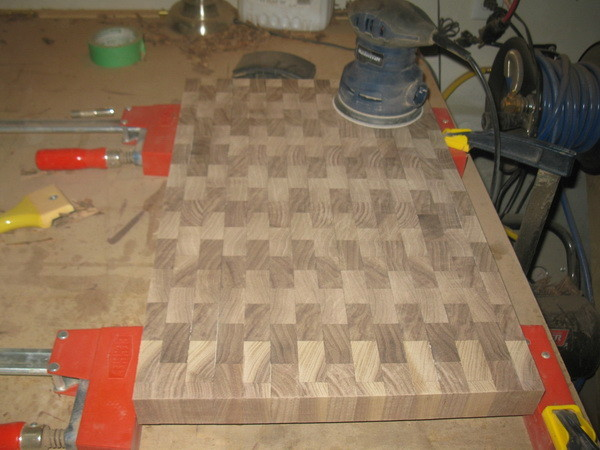 Custom Cutting Board hand planing and 3 grits of sanding