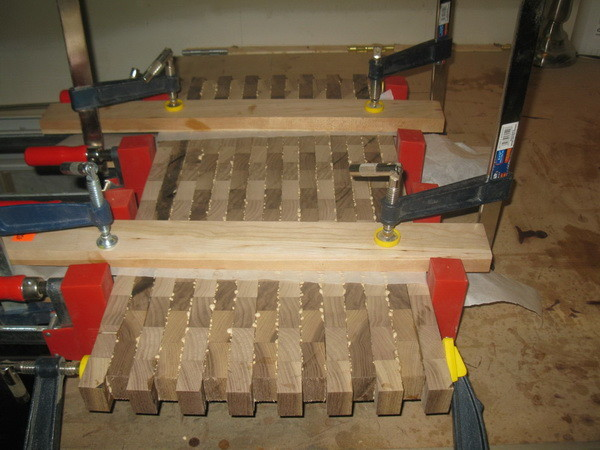 Custom Cutting Board making sure everything is straight and tight