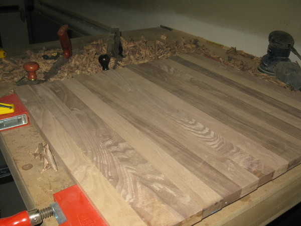 Custom Cutting Board planing and sanding to get the board flat