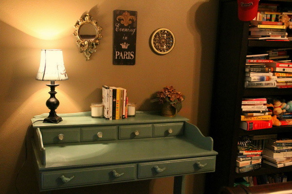 DIY Refurbished Repainted Desk Project - After Picture