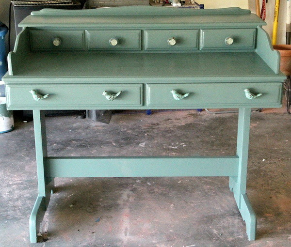 DIY Refurbished Repainted Desk Project - Painted and Applied Bird Knobs
