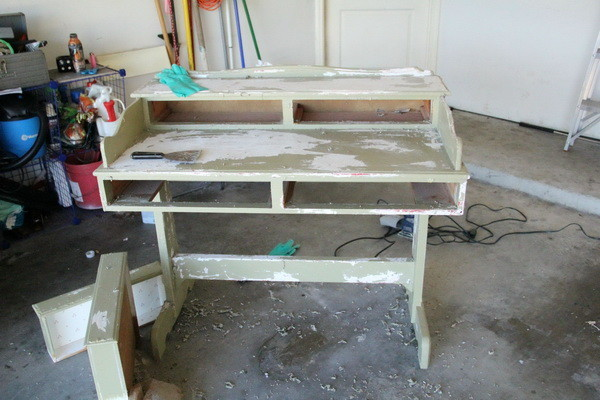 DIY Refurbished Repainted Desk Project - Scraping Off Old Paint