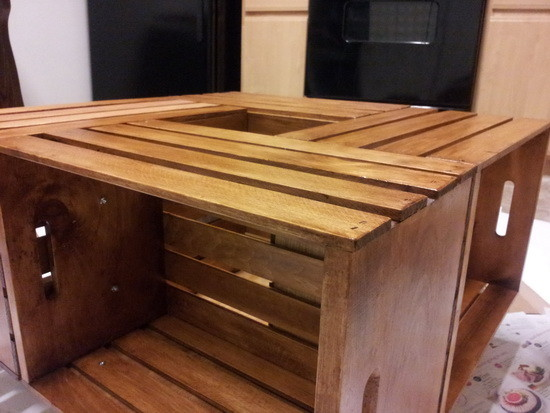 DIY Wine Crate Coffee Table