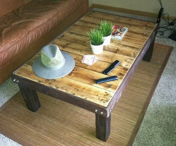 How To Make a Coffee Table out of a Wooden Pallet Easy  : Finished Project Coffee Table From A Pallet from removeandreplace.com size 600 x 499 jpeg 94kB
