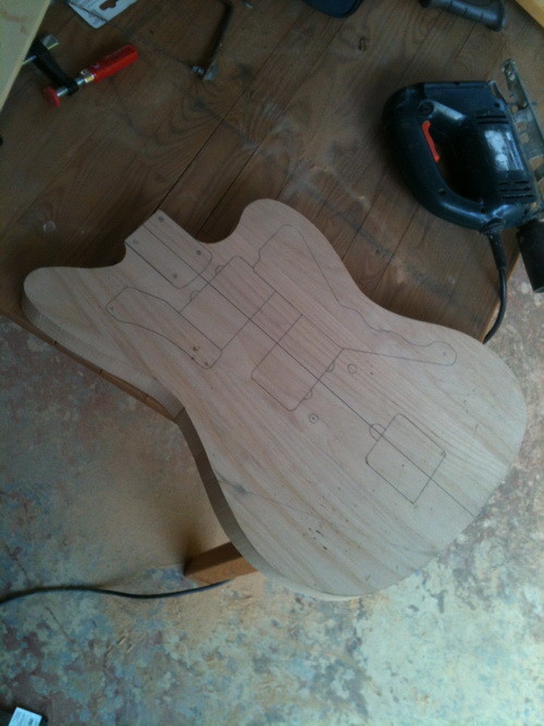 Finished exterior cut of the guitar