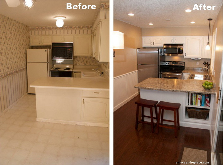 Beautiful kitchen remodel on a budget before and after for Small cheap kitchen designs