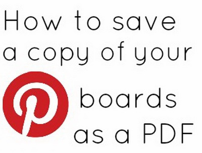 Pinterest boards saved as a PDF file