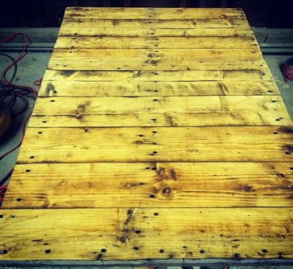 a pallet turned into a coffee table