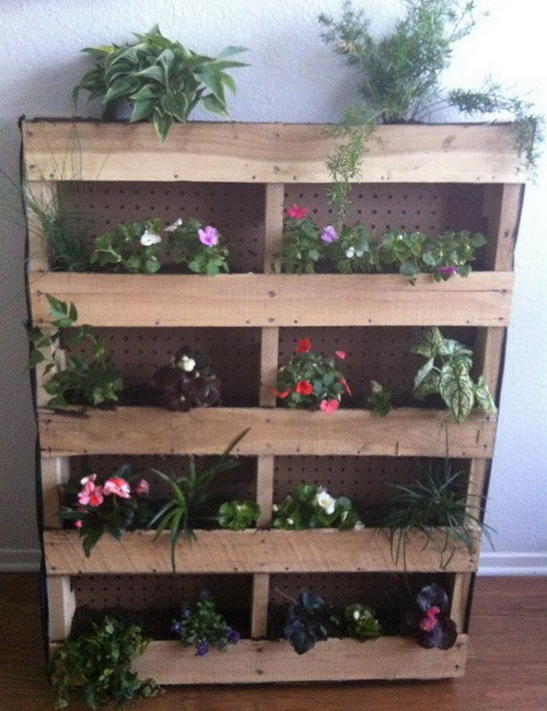 Vertical Garden Made From A Wooden Shipping Pallet