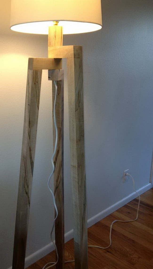 Build a copy of an expensive designer floor lamp yourself for Wood floor lamp plans