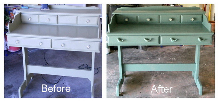 Refurbished Repainted Desk Project For Under $40 Dollars - Before and After Pictures