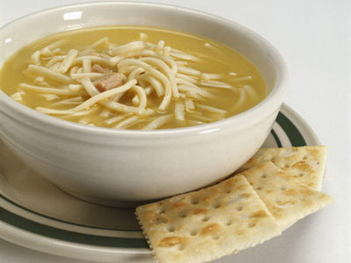 hot chicken soup for a cold and sore throat