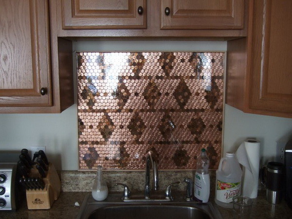 kitchen backsplash made with pennies completed - Penny Backsplash Model