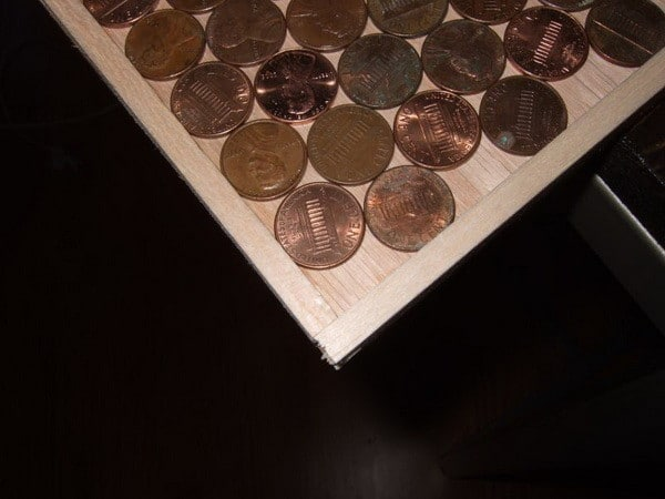 Kitchen Backsplash Made with Pennies