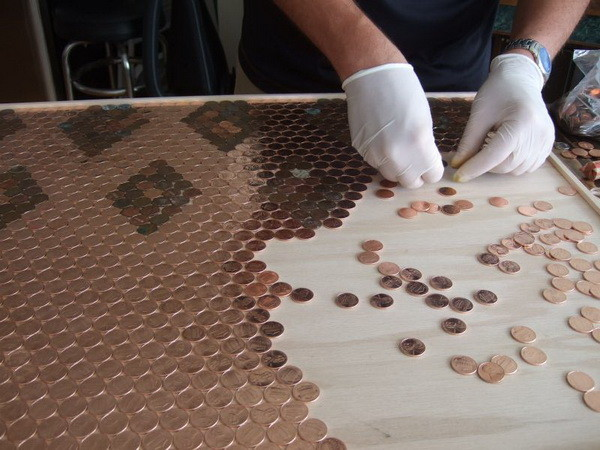 Kitchen Backsplash Made with COINS