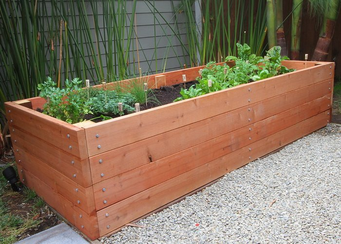 Huge Garden Planter Box Made Of Redwood And 8 Feet Long By 3