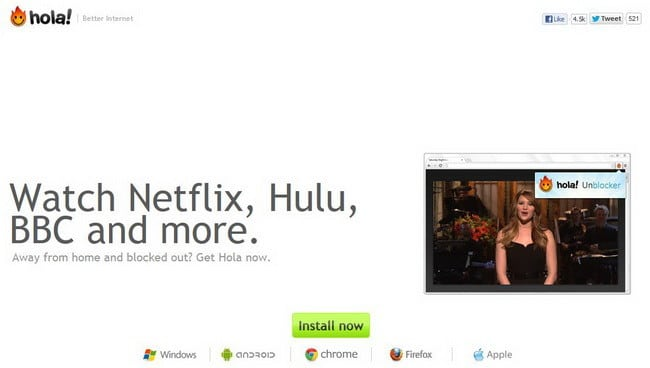 watch netflix in another country with Hola Unblocker
