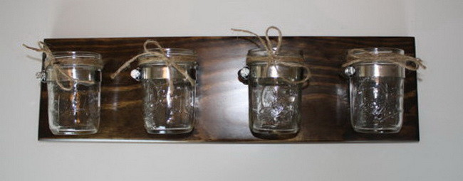 Four Jar Wall Vase Mason Jar Wall Storage Cottage Home Decor
