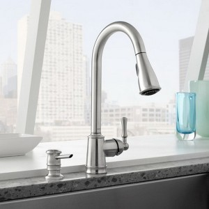 moen stainless steel lancaster high arc pull kitchen
