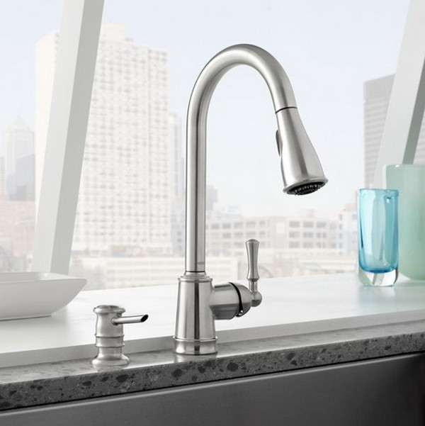 Faucet Sink Kitchen : ... Stainless Steel Lancaster High Arc Pull Down Kitchen Faucet + Soap Reg