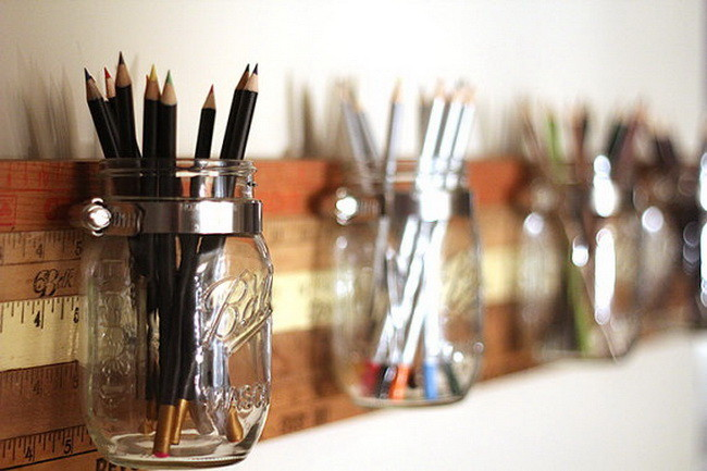 Mason Jar Wall Storage on Vintage Yardsticks