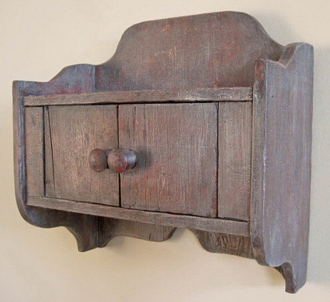 Small Primitive Rustic Wall Storage Cabinet