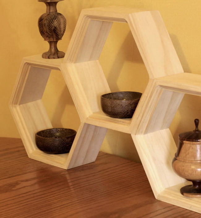 Unfinished Honeycomb Shelves