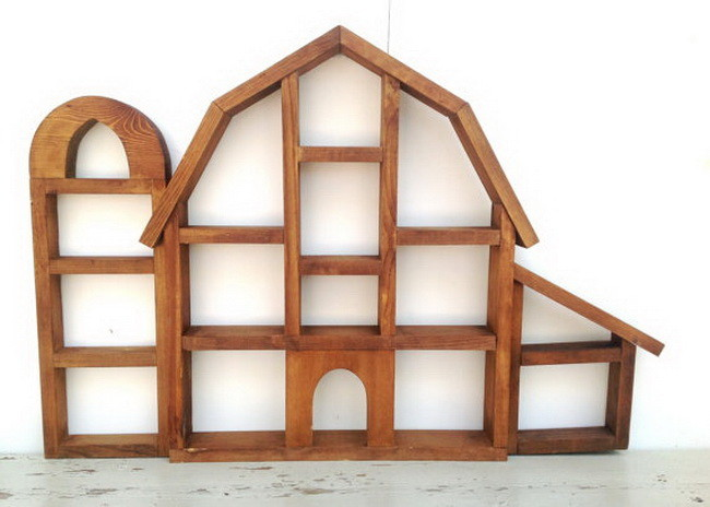 Vintage Wooden Country Barn Farm Silo Wall Storage Miniature Display Shelves