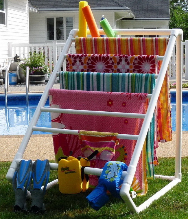backyard towel caddy made from pvc pipe