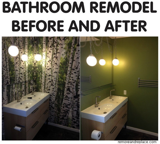 bathroom remodel before and after picture