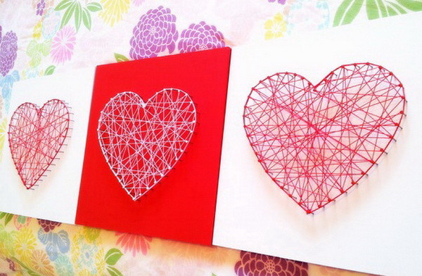 diy string hearts craft idea