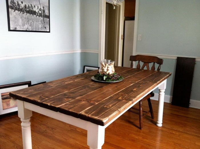 How to build a vintage style dining room table yourself for Styling dining room table