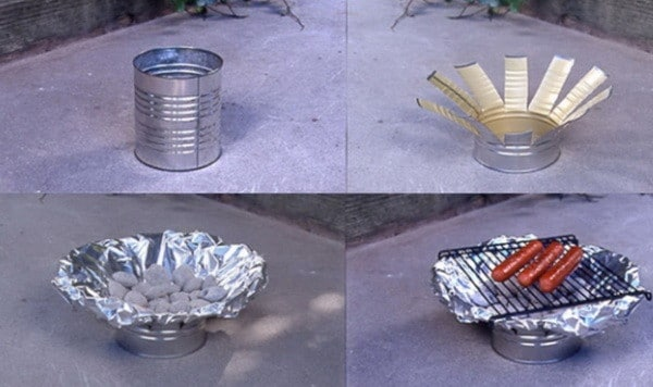 make an outdoor oven from a metal coffee can