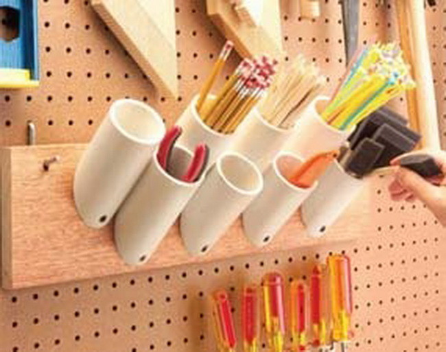pvc pipe to organize crafts