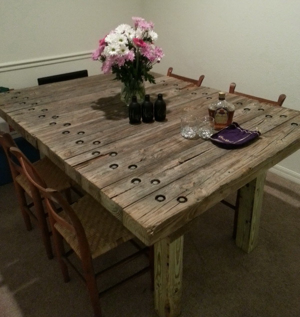 recycle old wood into a dining room table