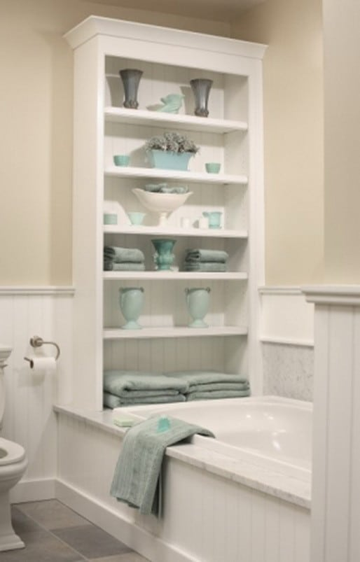 Wonderful View In Gallery There Are Lots Of Different Bathroom Shelf Ideas To Choose From This One Seems To Be Perfect For The Storage Of Towels Not Only That, But They Also Double As Towel Holders A Lot Of People Choose To Hide The Pipes Under