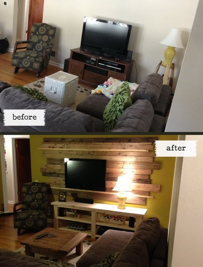 Living room remodel wooden backsplash makeover on a budget - Living room renovation before and after ...