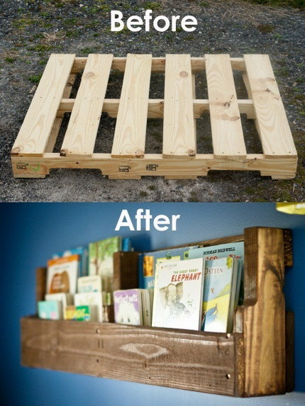DIY Pallet Idea Pallet Bookshelves