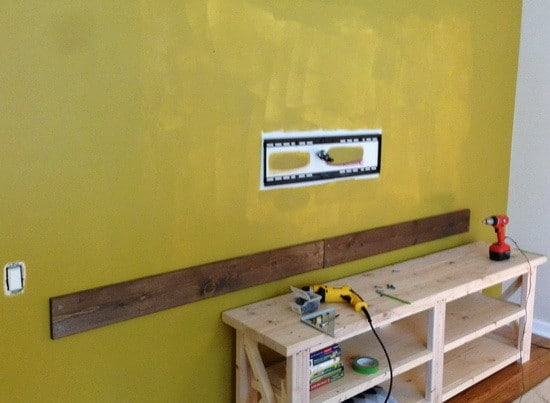before adding the wood to our walls
