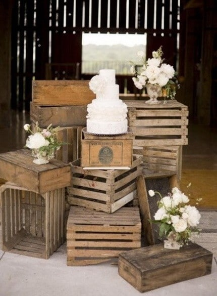 Old crates as stands