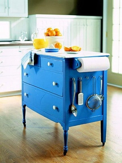 Repurposed furniture kitchen island from dresser