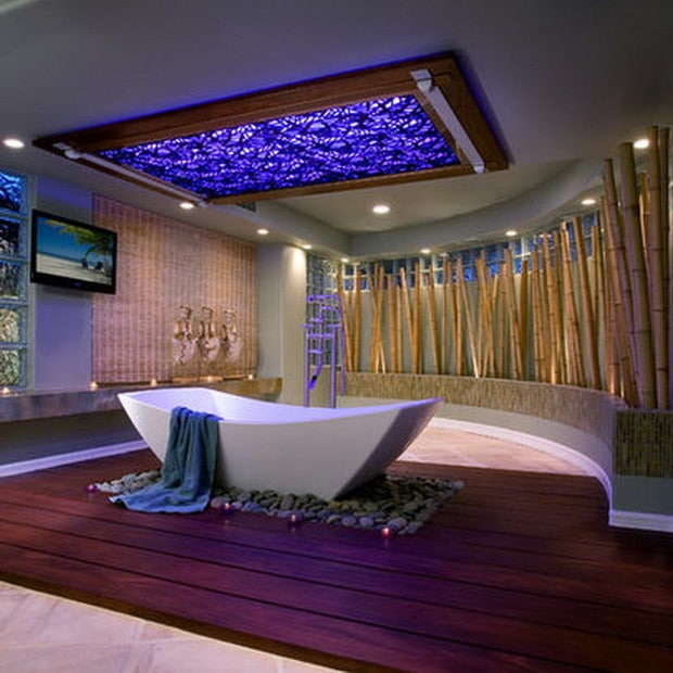 ultra modern bathroom with blue skylight - Luxury Bathroom