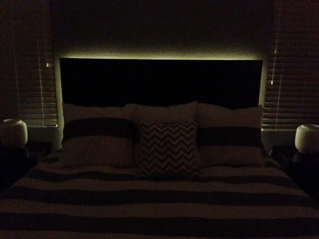 how to make a floating headboard with led lighting. Black Bedroom Furniture Sets. Home Design Ideas