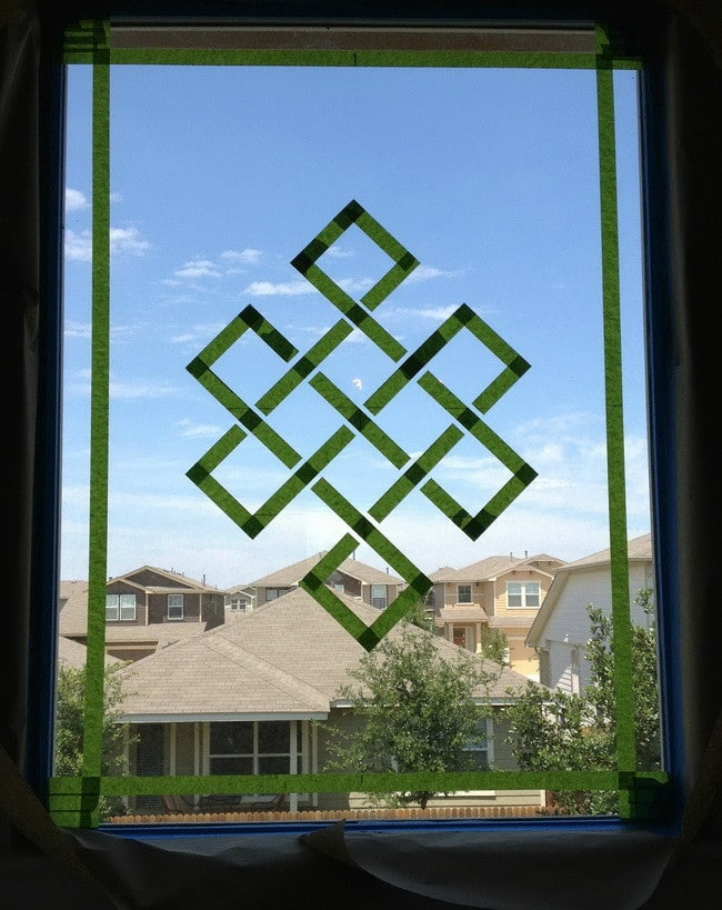 frosted glass window with design