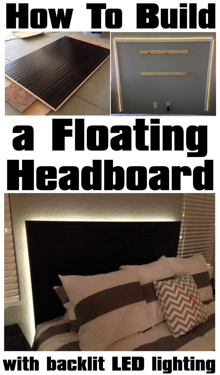 How to make a floating headboard with led lighting - Lit queen size dimension ...