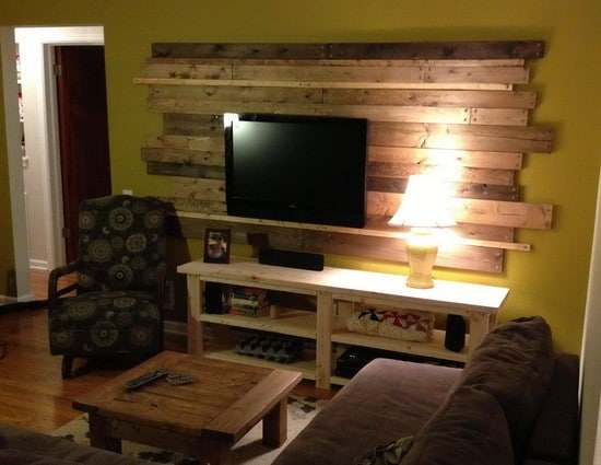 Living room remodel wooden backsplash makeover on a budget for Redesign living room ideas