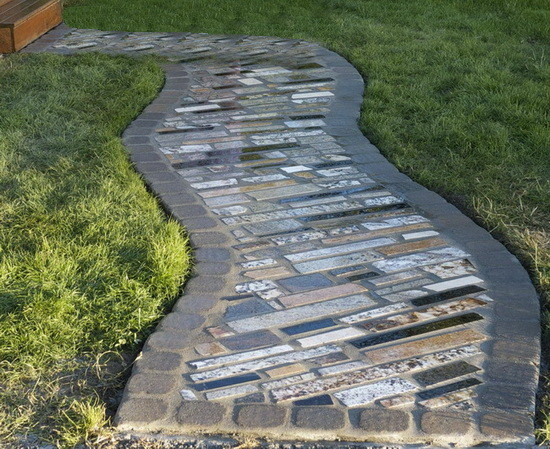 walkway made from recycled granite countertops_1