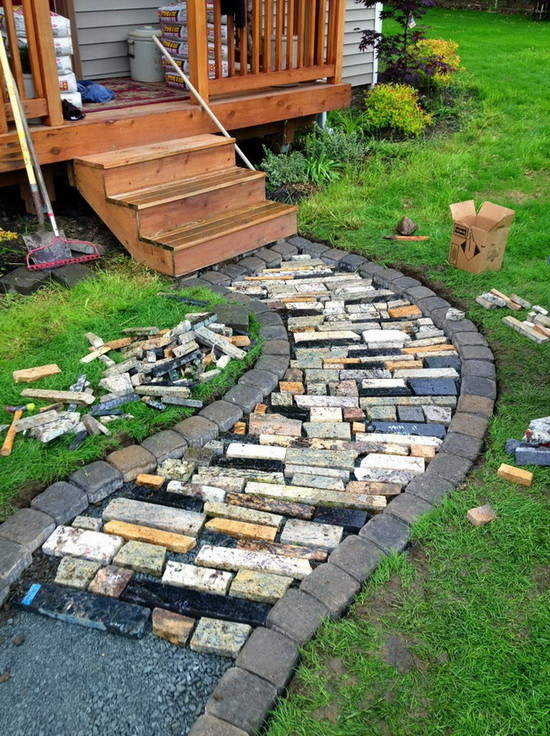 walkway made from recycled granite countertops_5